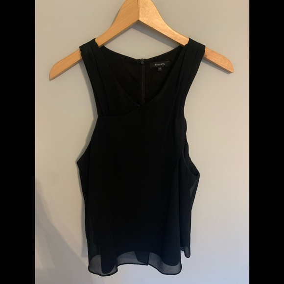 RW&CO black sheer sleeveless top